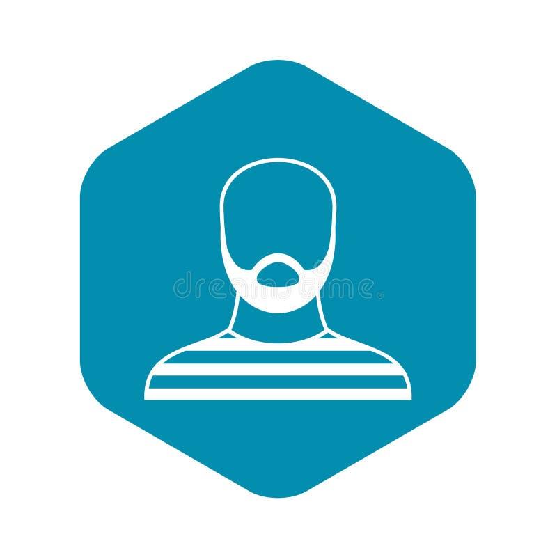 Hombre barbudo en el icono del atuendo de la prisi?n, estilo simple libre illustration