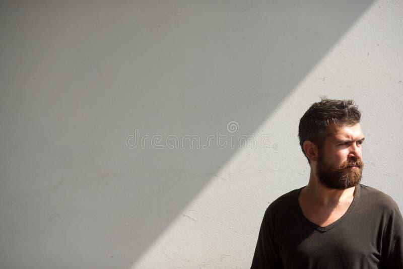 Hombre barbudo en la pared gris, barbería imágenes de archivo libres de regalías