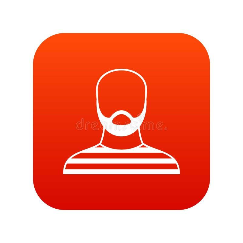 Hombre barbudo en rojo digital del icono del atuendo de la prisión stock de ilustración