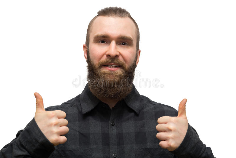 Hombre barbudo en un fondo blanco fotos de archivo