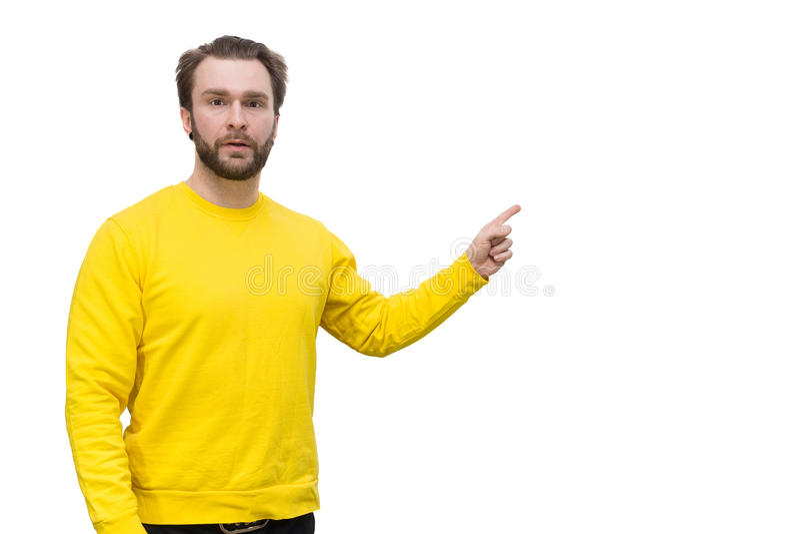 Hombre barbudo en un fondo blanco fotografía de archivo