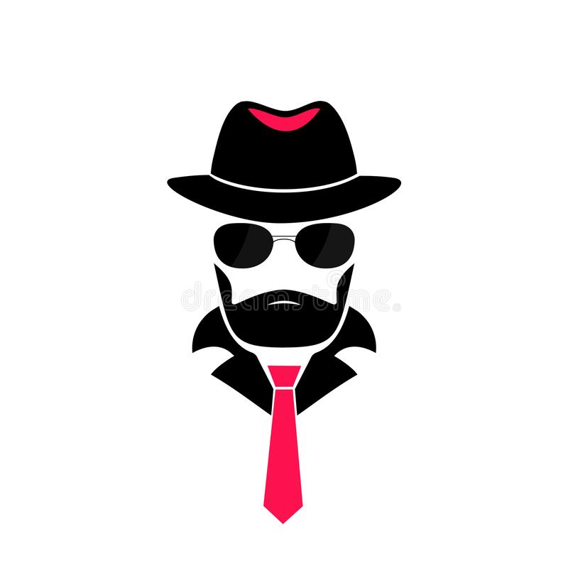 Hombre barbudo en un sombrero y en gafas de sol Logotipo del caballero en el estilo de la mafia para la tienda masculina, una pel ilustración del vector