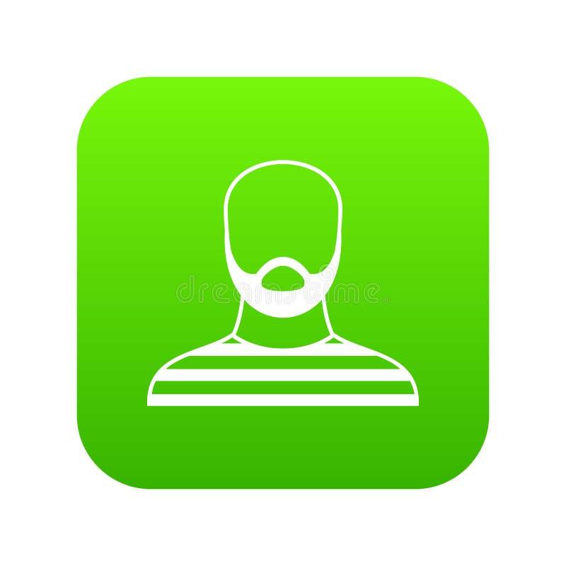 Hombre barbudo en verde digital del icono del atuendo de la prisión libre illustration
