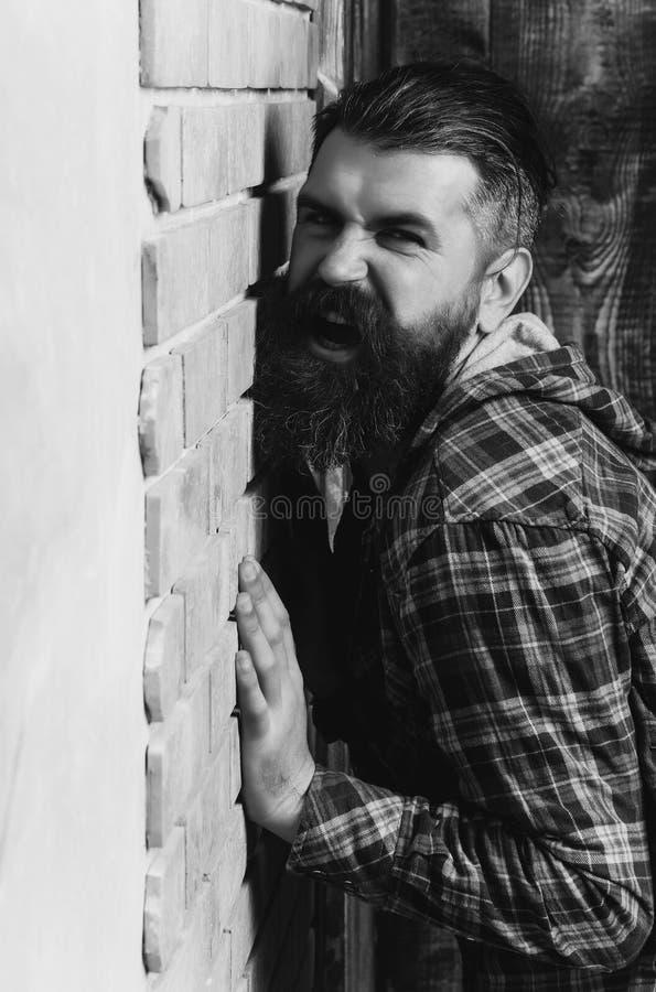 Hombre barbudo enojado que grita en la pared de ladrillo fotografía de archivo