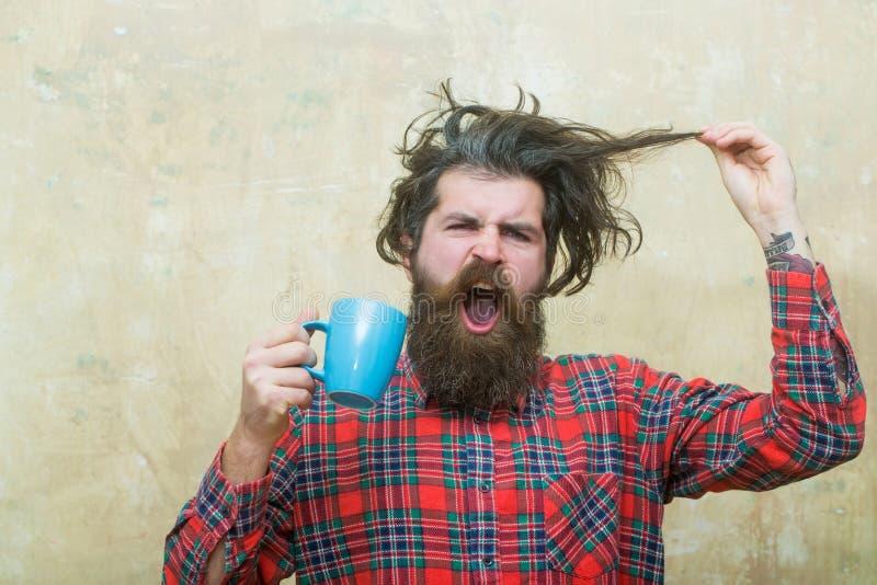 Hombre barbudo enojado que sostiene el pelo de la franja y la taza azul foto de archivo