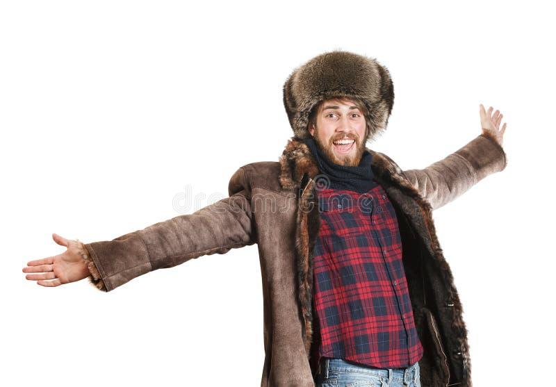 Hombre barbudo feliz fotografía de archivo libre de regalías