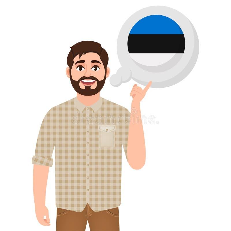 Hombre barbudo feliz que habla o que piensa en el país Estonia, el icono del país europeo, el viajero o el turista stock de ilustración