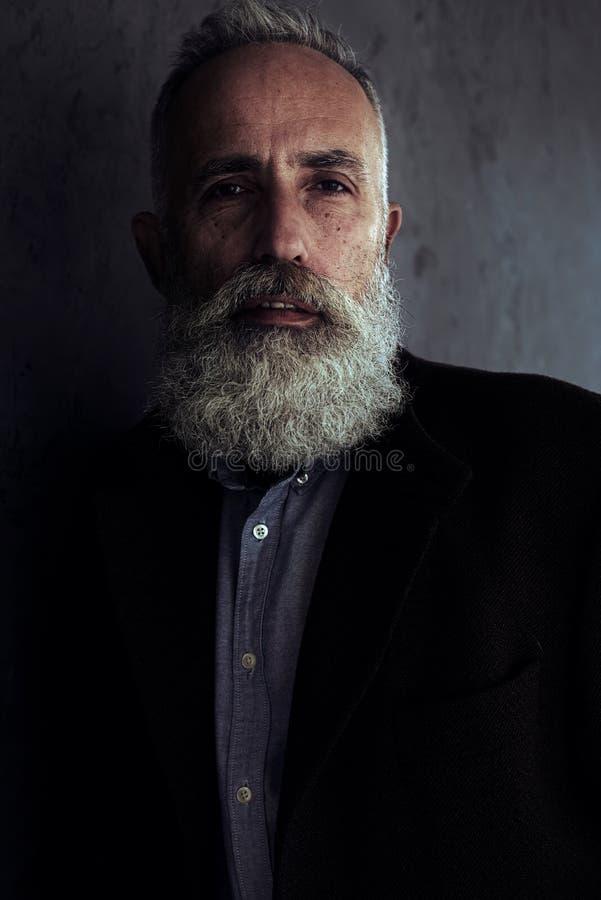 Hombre barbudo hermoso que mira atento in camera imagen de archivo