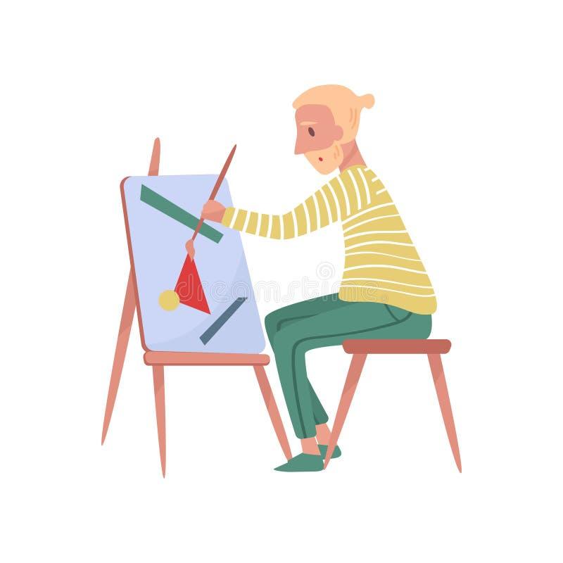 Hombre barbudo joven que se sienta en la pintura de la silla en lona Pintor profesional Ejemplo talentoso del vector de Flat del  stock de ilustración