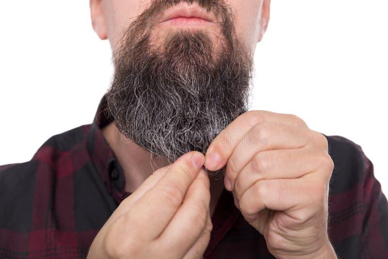 Hombre barbudo lleno que usa el bálsamo o el aceite, producto de la barba del cuidado para los hombres fotos de archivo libres de regalías