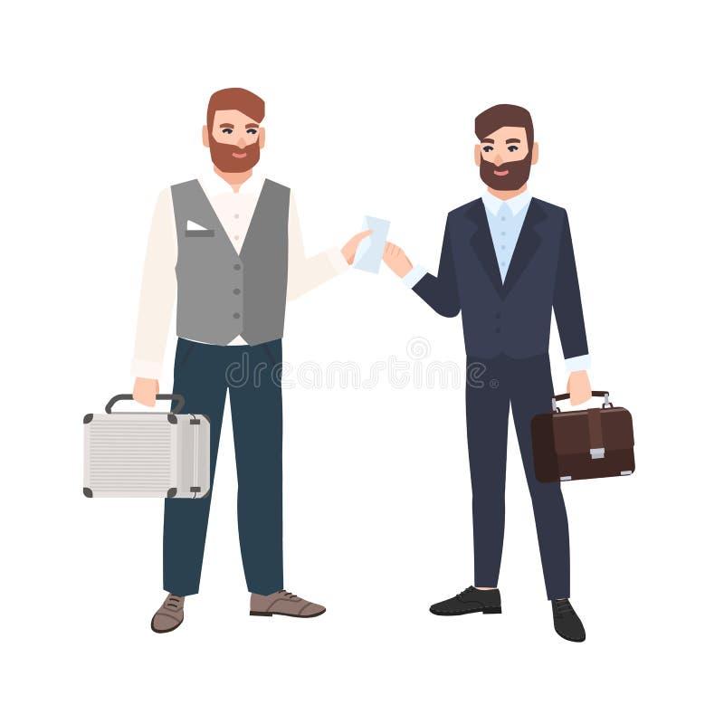 Hombre barbudo que pasa el sobre a su socio comercial o colega aislado en el fondo blanco Fabricación de dos hombres de negocios libre illustration