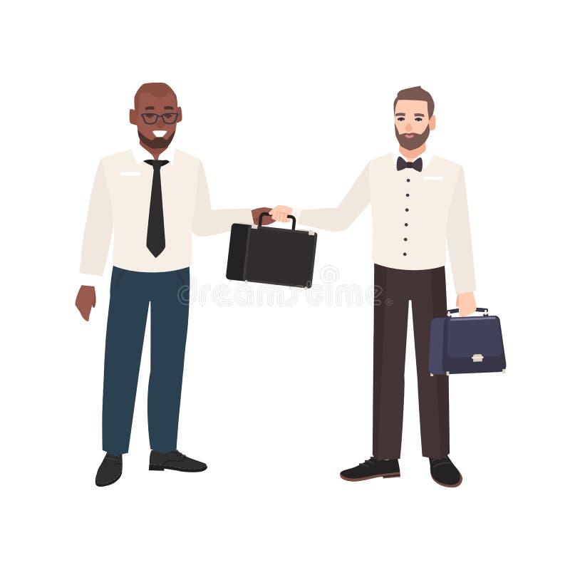 Hombre barbudo sonriente que pasa la cartera a su socio comercial aislado en el fondo blanco Escena con la oficina dos stock de ilustración