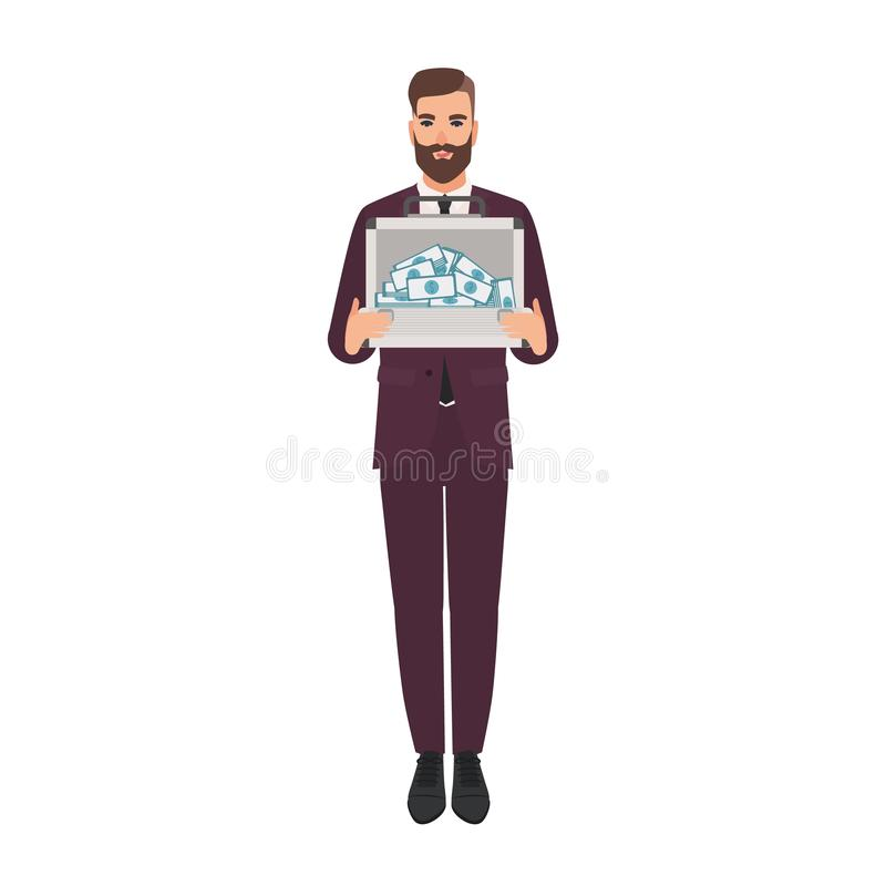 Hombre barbudo vestido en cartera elegante de la tenencia del traje de negocios por completo de dinero Hombre de negocios rico, m stock de ilustración