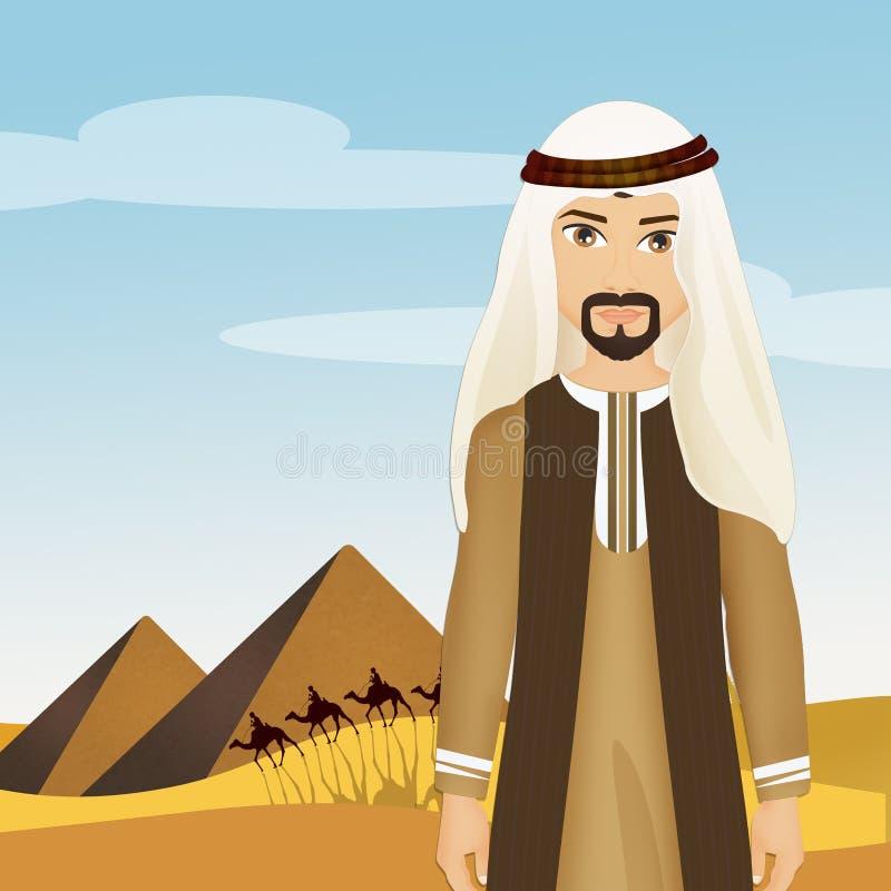 Hombre beduino en el desierto ilustración del vector