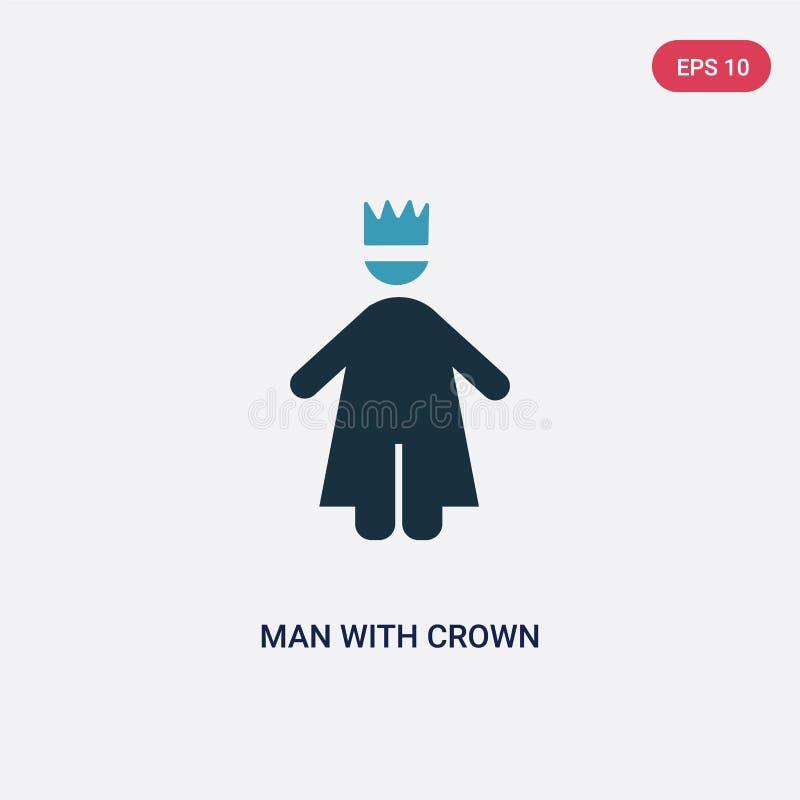 Hombre bicolor con el icono del vector de la corona del concepto de la gente el hombre azul aislado con símbolo de la muestra del stock de ilustración