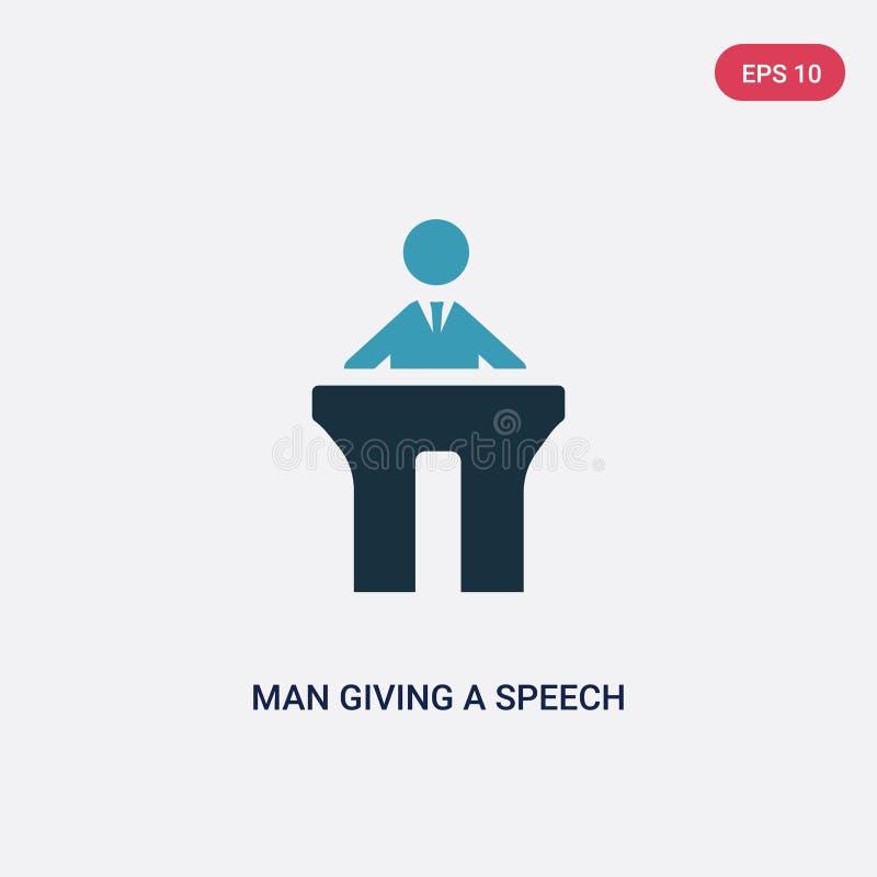 Hombre bicolor que da un icono del vector del discurso del concepto de la gente el hombre azul aislado que da un símbolo de la mu stock de ilustración