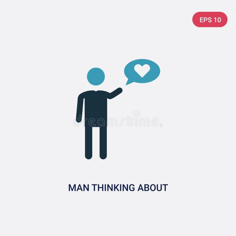 Hombre bicolor que piensa en icono del vector del amor del concepto de la gente el hombre azul aislado que piensa en símbolo de l ilustración del vector