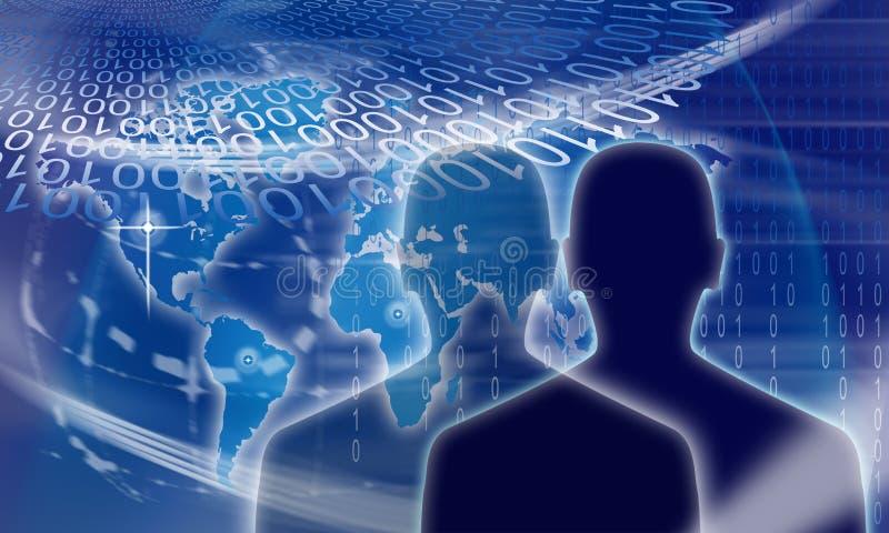 Hombre binario de la identidad de Digitaces ilustración del vector