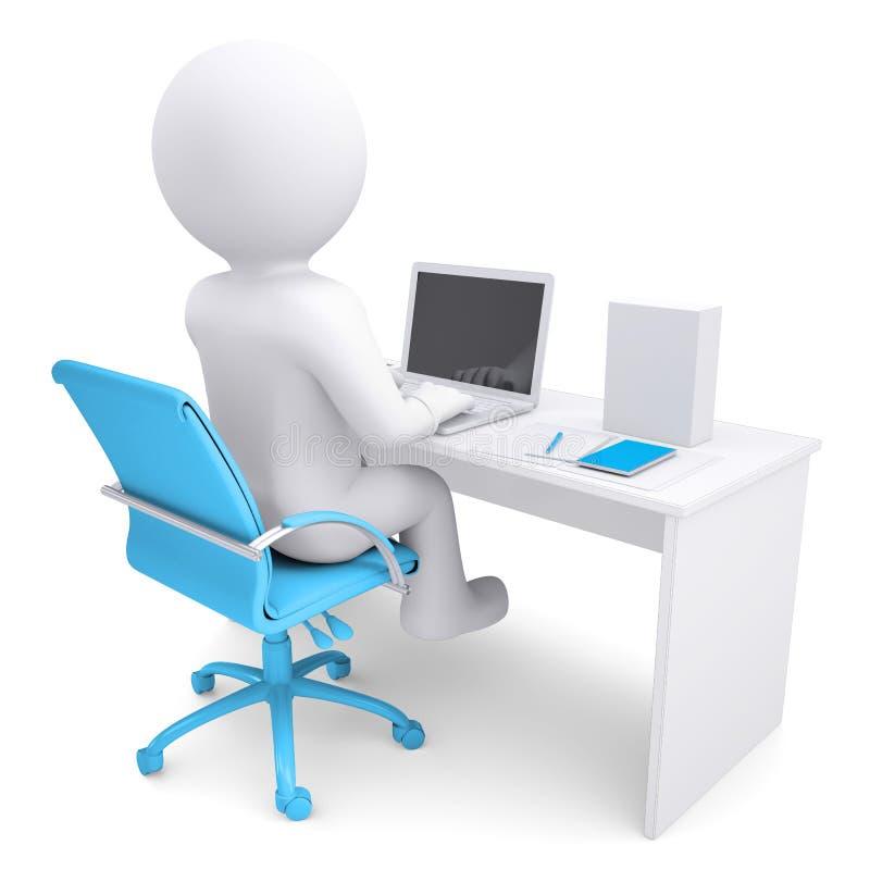 hombre blanco 3d que trabaja en la computadora portátil libre illustration