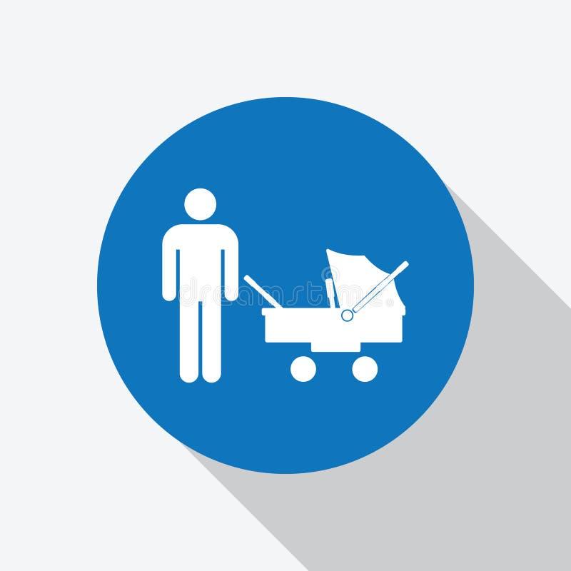 Hombre blanco con el icono del cochecito de bebé en círculo azul stock de ilustración