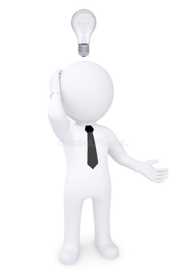 Hombre blanco desconcertado 3d con la bombilla sobre su cabeza ilustración del vector