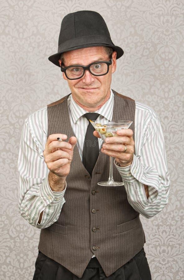 Hombre borracho con Martini imágenes de archivo libres de regalías