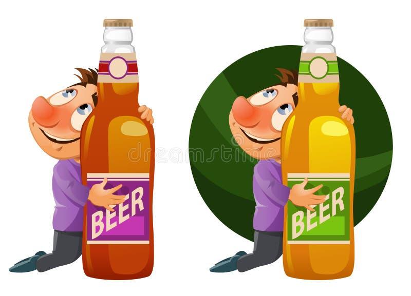 Hombre borracho que abraza una botella de cerveza Partido de Oktoberfest o apenas a stock de ilustración