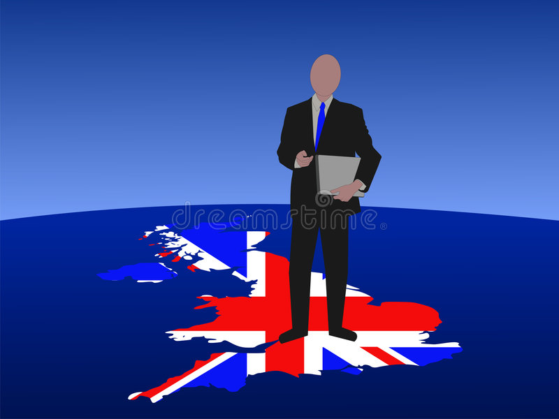 Hombre británico con la computadora portátil libre illustration
