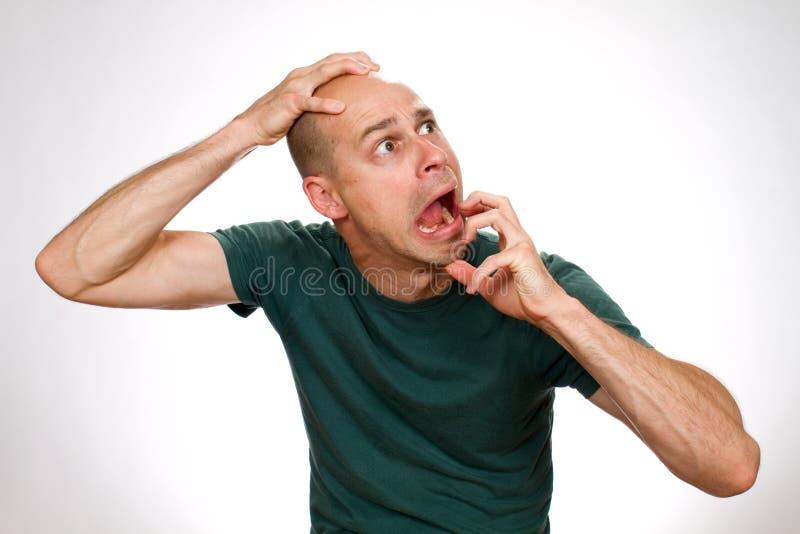 Hombre cómico asustado foto de archivo libre de regalías