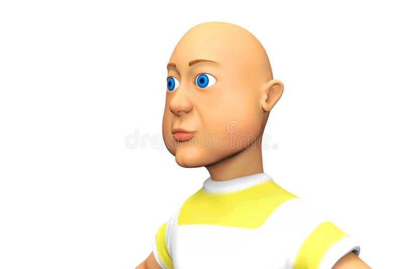 Hombre calvo de ojos azules stock de ilustración