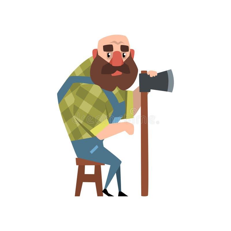 Hombre calvo del bosque que se sienta en silla de madera y que sostiene el hacha Personaje de dibujos animados del leñador barbud libre illustration