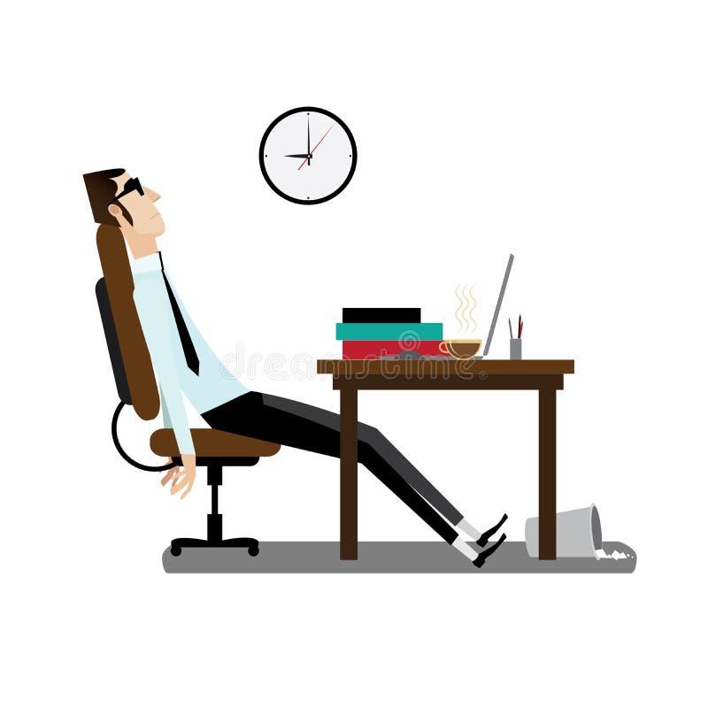 Hombre cansado de la oficina que se sienta en el escritorio ilustración del vector