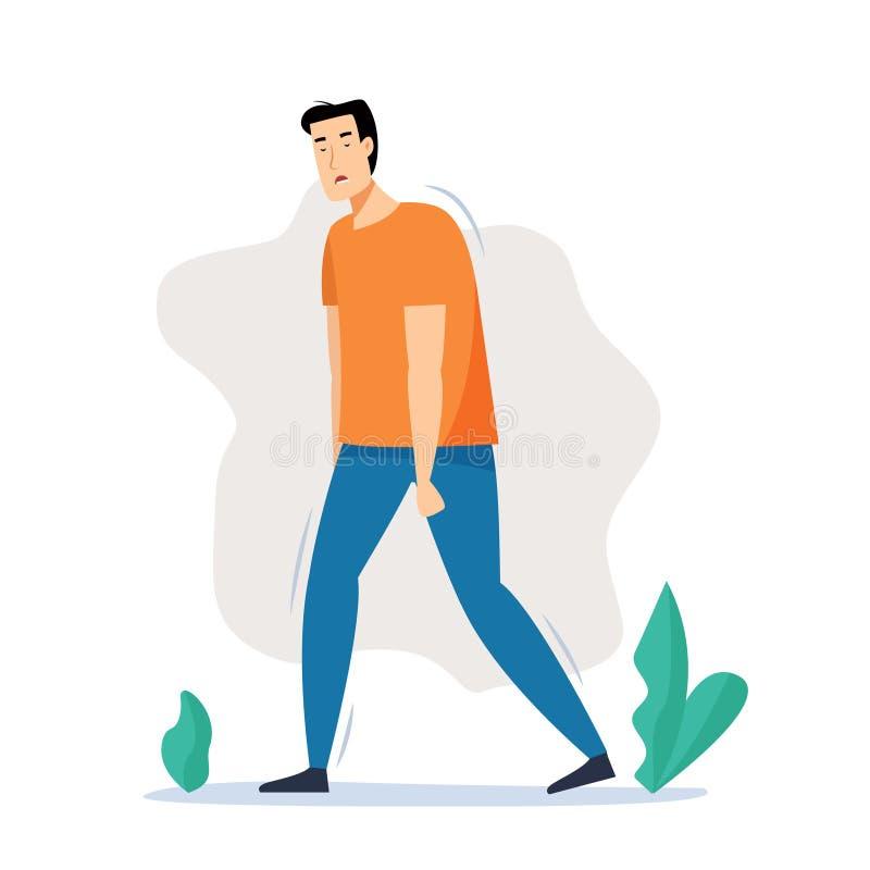 Hombre cansado que camina en la calle después de trabajo stock de ilustración