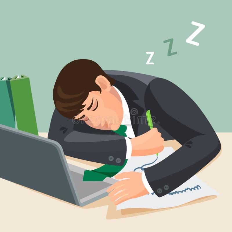 Hombre cansado que duerme en el escritorio El hombre de negocios en traje se cae dormido stock de ilustración