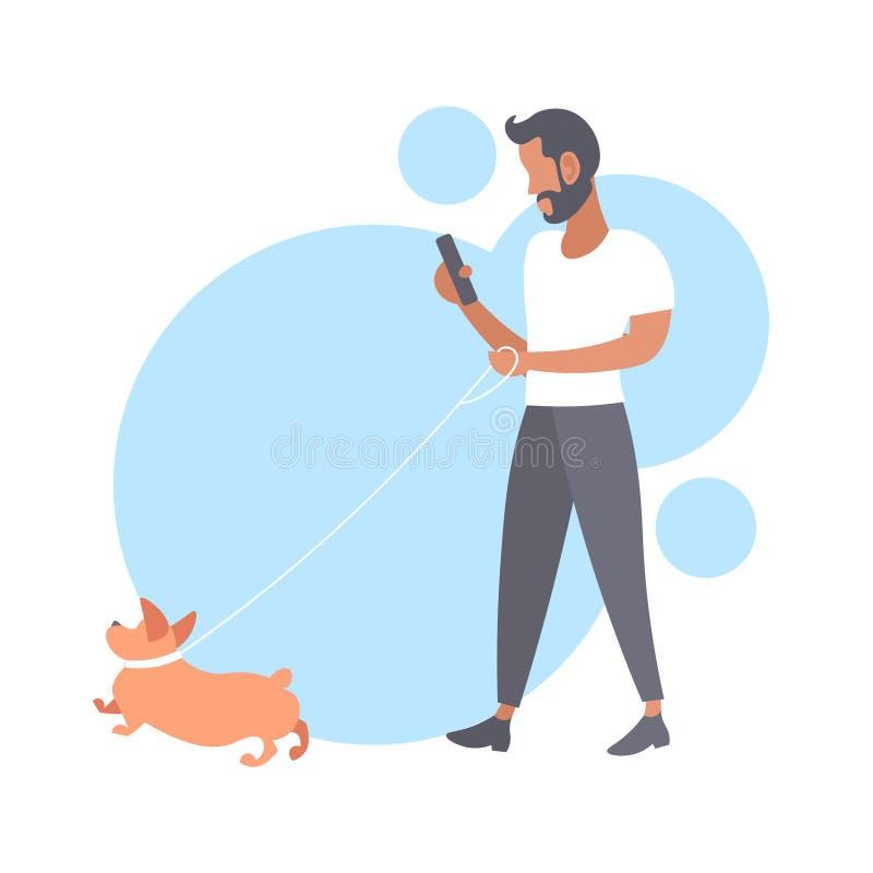 Hombre casual que camina con el individuo barbudo del perro que usa a la persona masculina del smartphone que se divierte con su  stock de ilustración