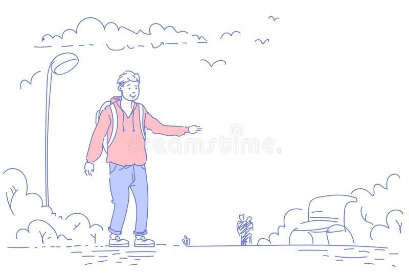 Hombre casual que coloca la lámpara de calle urbana del banco de madera del parque de la ciudad que señala la mano algo personaje stock de ilustración