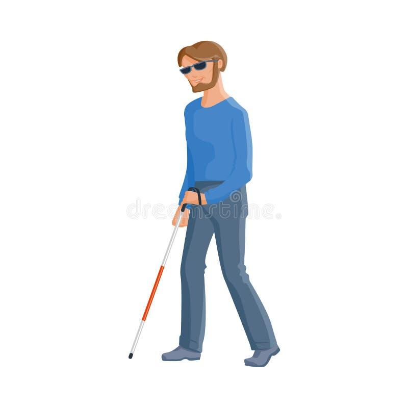 Hombre caucásico ciego en vidrios con un bastón que camina ilustración del vector