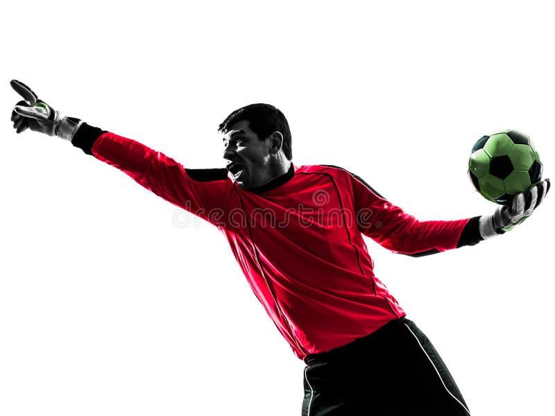Hombre caucásico del portero del jugador de fútbol que señala la silueta foto de archivo libre de regalías