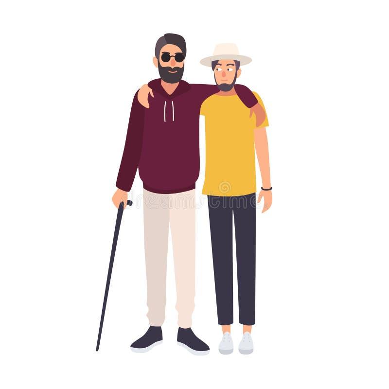 Hombre ciego barbudo con las gafas de sol y el bastón que se colocan y que abrazan con su amigo Carácter masculino con la ceguera ilustración del vector