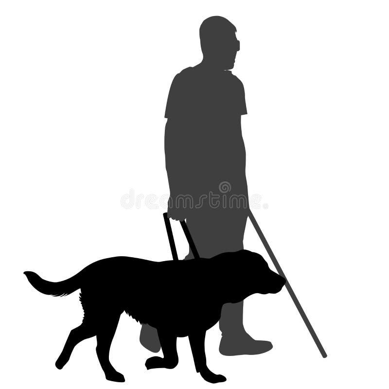 Hombre ciego con el bastón y el perro guía ilustración del vector