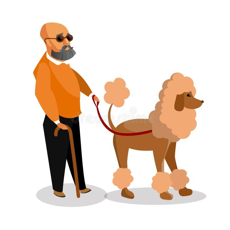 Hombre ciego con el ejemplo de la historieta del perro guía ilustración del vector