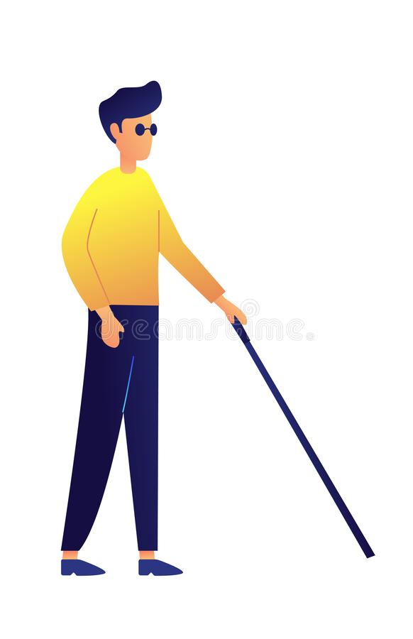 Hombre ciego que camina con el ejemplo del vector del palillo stock de ilustración