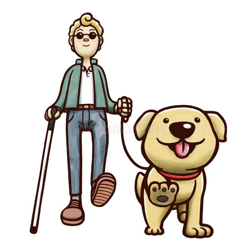 Hombre ciego que camina con el perro guía Aislado en el fondo blanco stock de ilustración