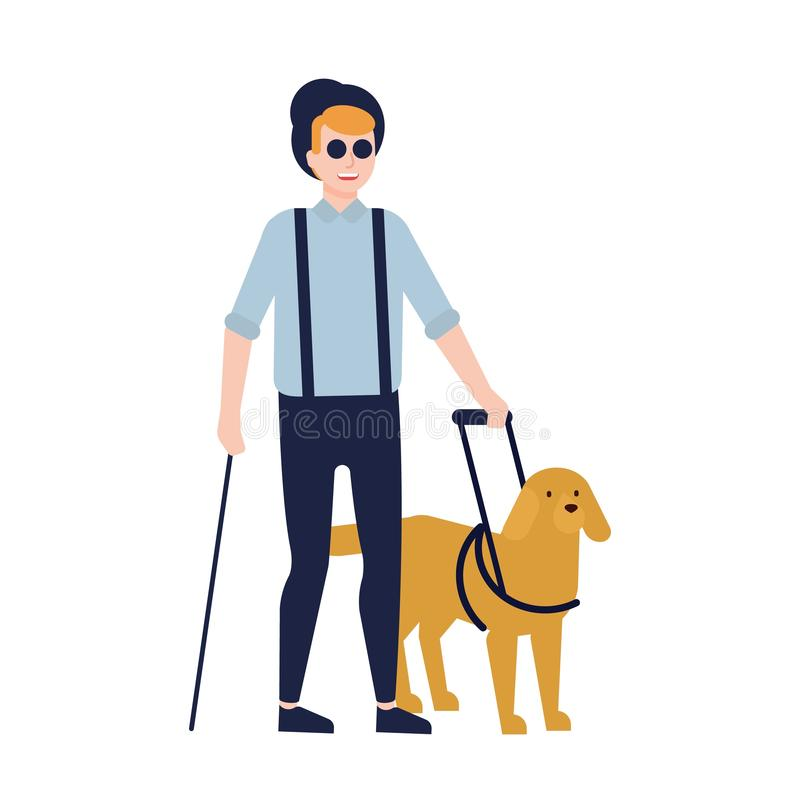 Hombre ciego y perro guía aislados en el fondo blanco Individuo con ceguera, discapacidad visual o pérdida y servicio de la visió stock de ilustración