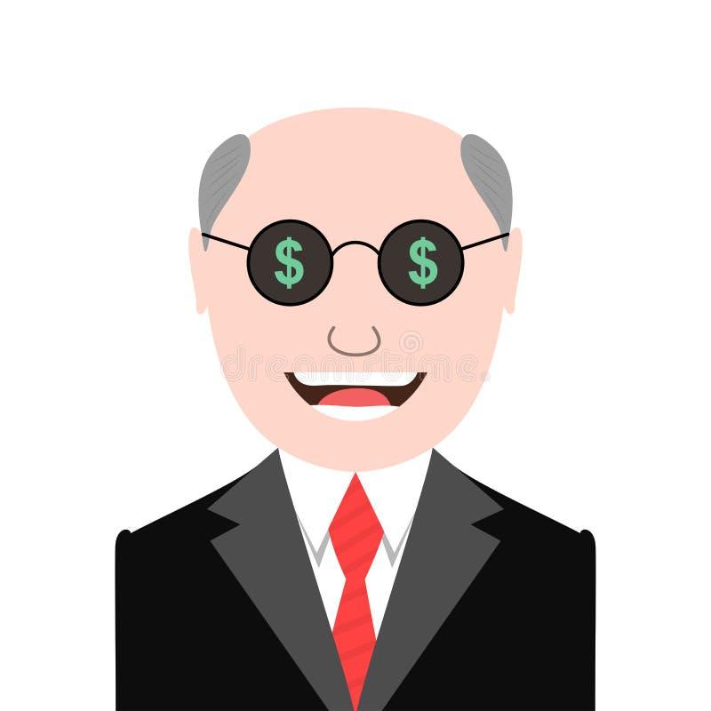 Hombre codicioso con los vidrios de las muestras de dólar stock de ilustración