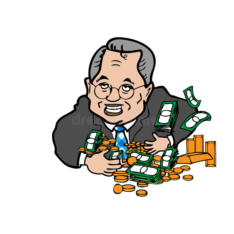 Hombre codicioso de historieta del dinero ilustración del vector