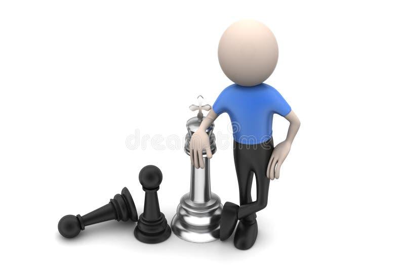 Hombre con ajedrez stock de ilustración