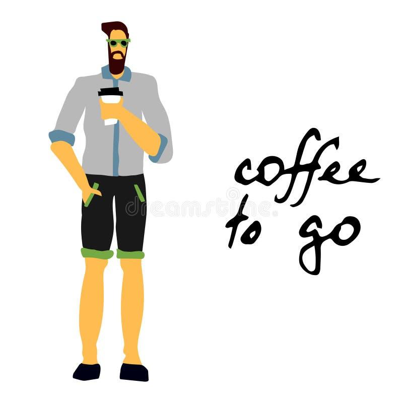 Hombre con café en la mañana ilustración del vector