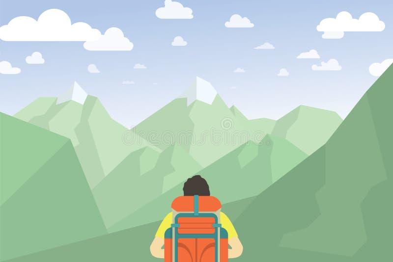 Hombre con caminar de la mochila Paisaje de la montaña libre illustration