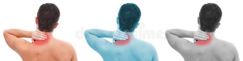 Hombre con collage del dolor de cuello foto de archivo